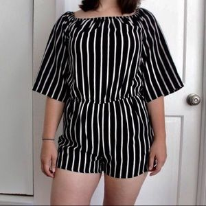 38df636ebab Ambiance Pants - Black and white striped romper